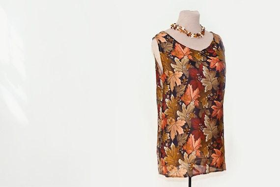 silk tunic, top, sleeveless blouse or shell, Uzbek silk top, leaves, botanical, floral silk top, summer top, nature, vintage silk