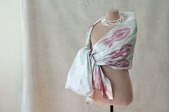 ikat silk scarf or shawl, feminine, ethnic, in pastels, with pink tulips or pomegranates, made in Uzbekistan