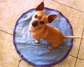 DUVET 22x22 Homemade Round Pet Blue Denim Jeans Dog Pillow CASE Dog Cat Durable Washable Zipper