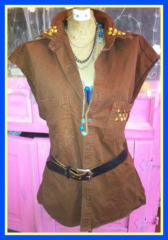 Gold Studded tunic top / 90s grunge brown denim shirt boyfriend shirt/cut off sleeve/unisex/Sleeveless Denim Shirt Top Blouse Size M-L