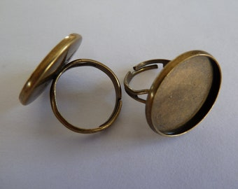 10 x Antique bronze adjustable ring blanks for use with glass cabochons