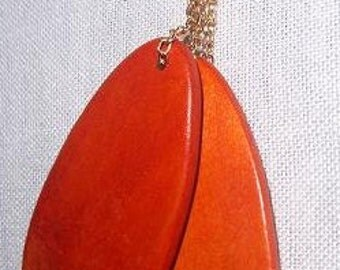 Orange wood earrings with chains