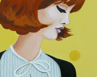 Jackie, an original painting of a stylish sixties woman.