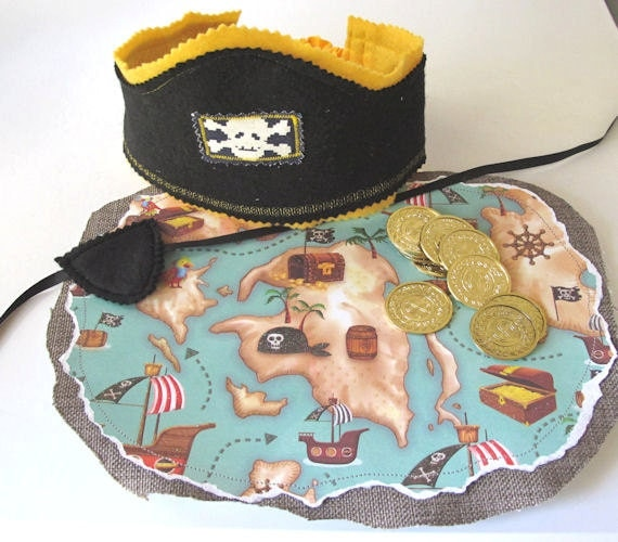 Pirate Hat, Pirate Map, Pirate Eye Patch. Pirate Adventure Set