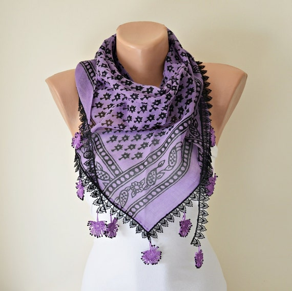 Purple triangle cotton scarf crochet, beaded lace, Turkish cotton fabric, Beadwork