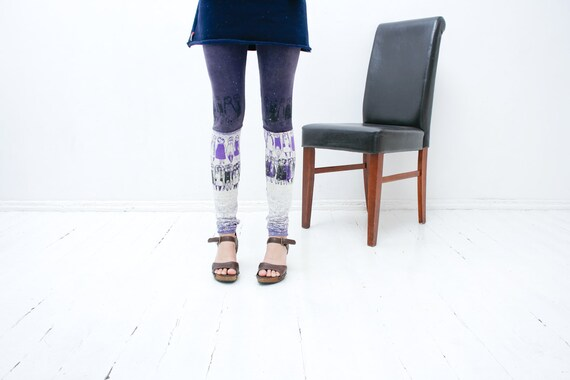 M size-  dark purple and light lillac stocking leggings with cute print
