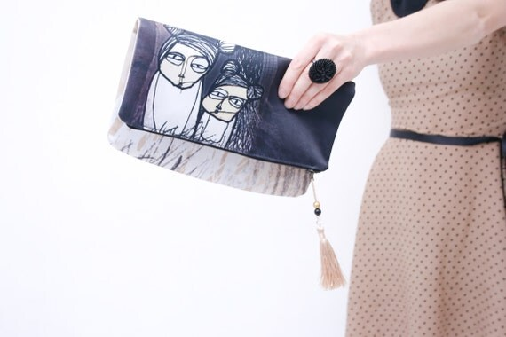 Relationships and all those ships- pastel beige and dark grey small fold over clutch bag