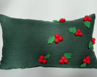 FREE SHIPPING!!! Holly Christmas Dark Green Linen Pillow Case with Red Felt Balls and Leaves 12x20 Inch Home Decor from tuliManna