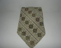 Vintage White Green Purple Peek A Boo Necktie