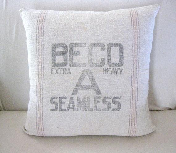 Feed Sack Pillow, Farmhouse Throw Pillow, 19x19