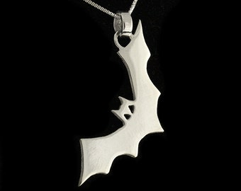 Sterling silver Halloween BAT necklace scared of bat pendant with silver chain