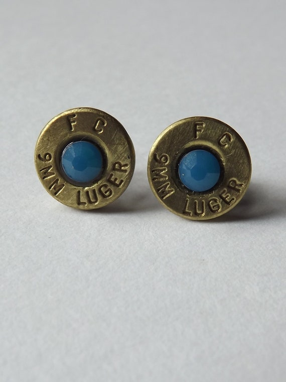 Bullet earring, Stud Earrings, Spent Shell Bullet Jewelery, 9mm Luger
