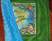 Sale!... SOUTH AMERICA Animal minky blanket / small baby cuddle quilt / security blanket / lovie... ready to ship (imperfect)… 17 by 17 inch