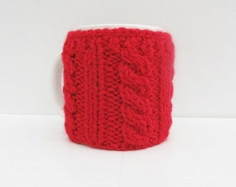 Christmas Coffe Cozy, Knitting Red Coffe Cup Cozy, Mug Cozy, gift