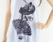 Skull blown Skull hat Art Design Skull Tank Top Women Tanks Skull Shirt White T-Shirt Screen Print Size M