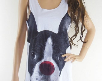 Dog Red Nose Animal Style shirt funny graphic tee quote tee gift ideas cool top vintage shirt Dog Tank Top White T-Shirt Screen Print Size M