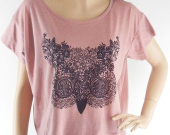 Flowers Owl Cute Animal Style Art Fashion T- shirt Crop Top Tee Shirt Screen Print Free Size