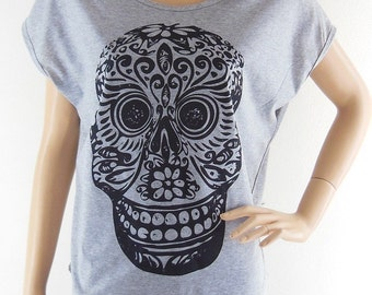 Mexican Skull Mask Art Design Bat Sleeve Women Shirt Gray Short Sleeve Gray Shirts Screen Print Size M