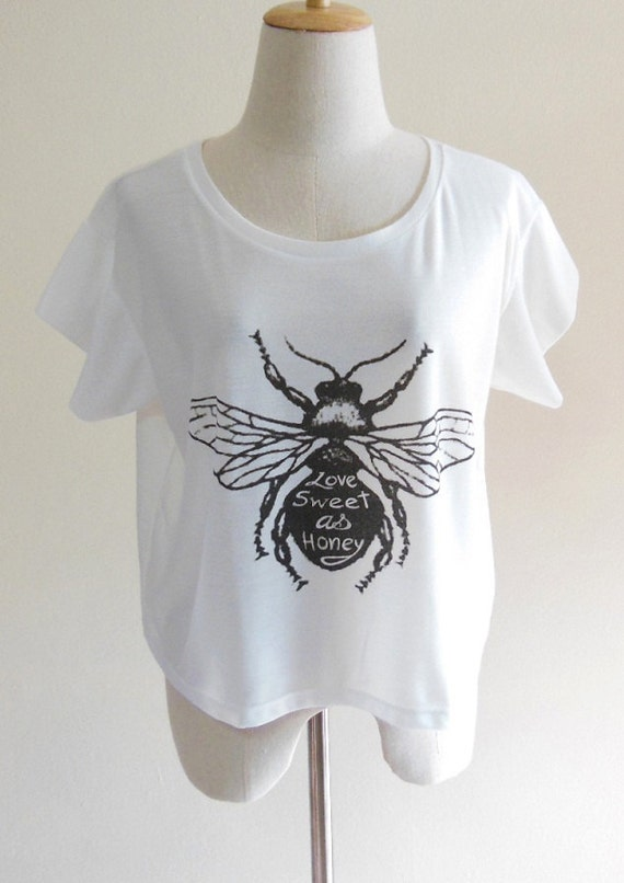 Love Sweet as Honey Bee Animal Style Art Fashion Crop Top Tee Shirt Screen Print Size L