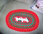 Oval Christmas Crocheted Placemat or Doily