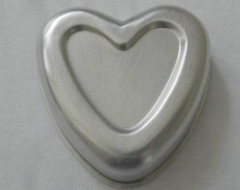 Small Aluminum Tin JELL-O Mold Heart Shape