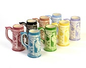 Beer Stein Mugs Set - Bavarian Style Handmade Painted Ceramic, Rainbow of Colors SET OF 8 - Vintage Serving Use or Home Decor