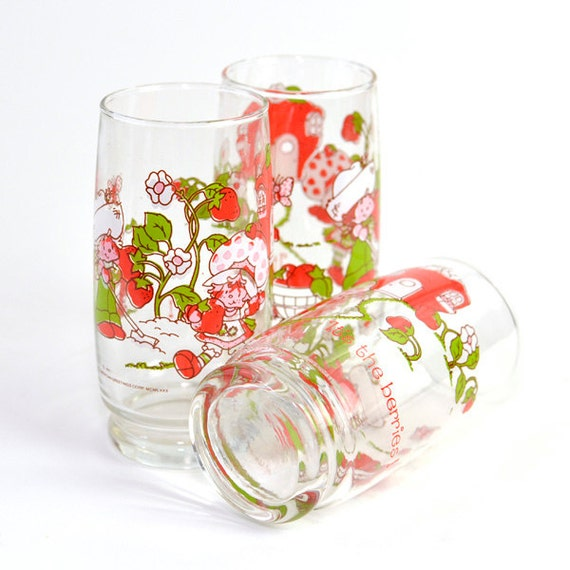 Strawberry Shortcake 1980 Glass Tumblers Set Of 3