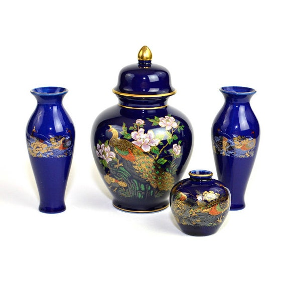Cobalt Blue Peacock Japanese Ginger Jar And Vase Set