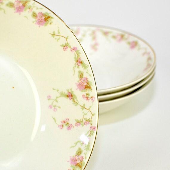 Shabby Chic Antique Pink Flower Bowls, SET OF 4 - Johnson Bros. England Semi Porcelain - Vintage Home Kitchen Decor, Use, or Repurpose