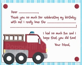 INSTANT DOWNLOAD -  Printable Fire Truck Thank You Card - Digital Design