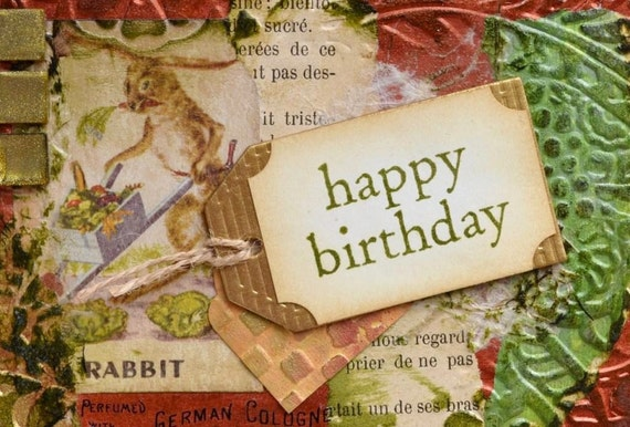 OOAK Birthday Card, Rabbit, Chalk and Slate cards