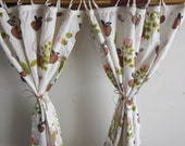 Vintage Apple & Leaf Print Kitchen Cafe Curtains