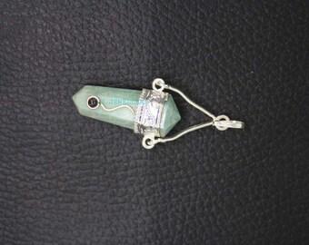New Healing Parrot Green Aventurian Faceted Pencil Pendant With Garnet ET A17/2