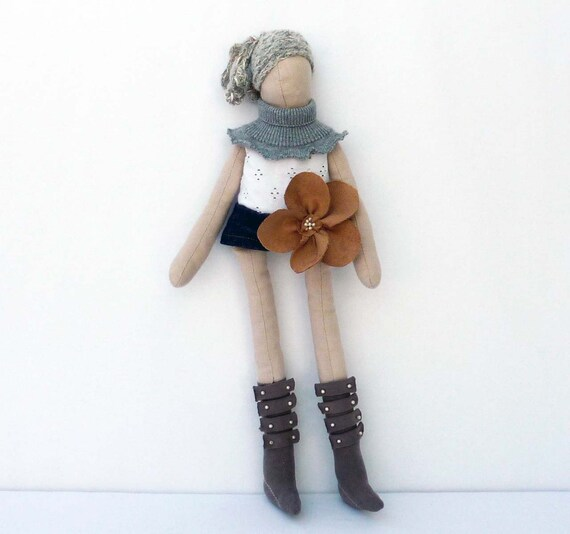 Handmade fabric dolls, with denim skirt, suede corsage & military boots