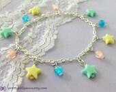 Fairy Kei, Sweet Lolita Pastel Star Charm Bracelet