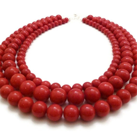 Red Necklace - Multi Strand Necklace - Statement Necklace - Mountain Jade - Three Strand Necklace - Marble Necklace