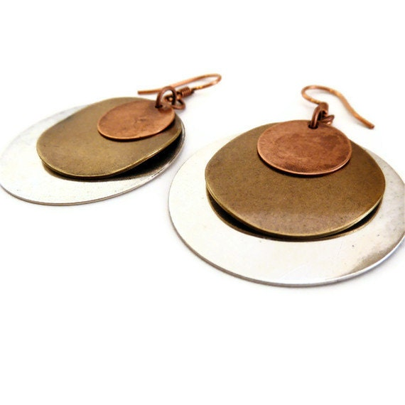 Disc Earrings - Copper Silver and Gold - Dangle Earrings - Drop Earrings - Antiqued Silver, Copper and Gold Disc Dangle Earrings
