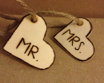 Mr & Mrs Heart tags, hand engraved, twine