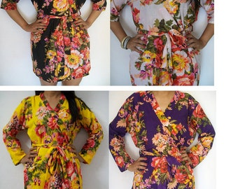 Set of 4 Floral Kimono Crossover patterned Robe Wrap, Bridesmaids Robes, Bridesmaids gift, getting ready robes, Bridal shower favors