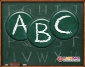 CHALKBOARD Alphabet ABC 1 inch, 1.5 inch and 7/8 inch Circles Digital Collage Sheet Printable Download for Pendants Magnets