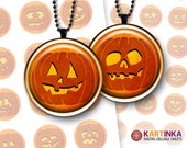 HALLOWEEN JACK O'LANTERNS 1 inch, 1.5 inch & 7/8 inch Circles Digital Collage Sheet Printable Download for Pendants Magnets
