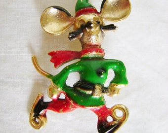 Vintage Mouse Brooch - 1950s Enamel Painted Gold Tone Ice Skating
