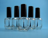5 Empty Nail Polish Bottles w/ stainless steel beads