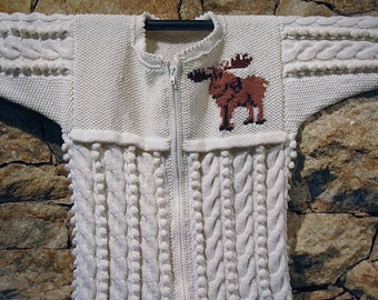 Hand knit cardigan for children with cables and bobbles - Moose READY TO SHIP