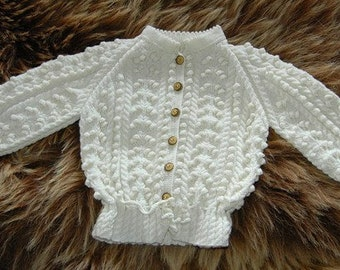 Hand knit cardigan with cables and bobbles for little girls, Austrian Trachten style - READY TO SHIP
