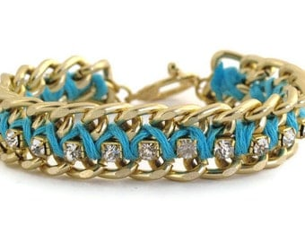 Aqua Blue Woven Chain and Rhinestone Bracelet