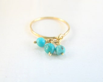 Turquoise ring, stacking gold ring, gemstone ring, bridal jewelry, thin, hammered ring, bridesmaid ring, turquoise jewelry
