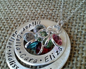Personalized Necklace - Hand Stamped Mother Necklace - Family Names Necklace - Swarvoski Crystal Element Birthstones by Stamped Evermore