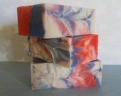 Cinnamon scented red, white and blue all natural soap