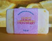 Lemon and strawberry soap and shampoo bar, highly scented with real lemon and lemon essential oil